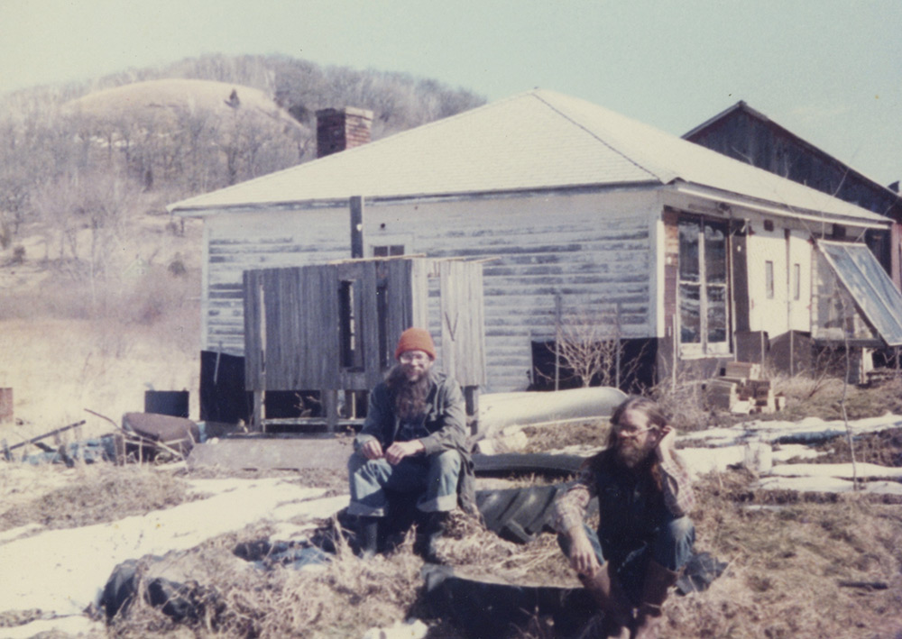 Alan Wade and neighbor Tony Brown at Wiscoy Land Co-op, early 1980s